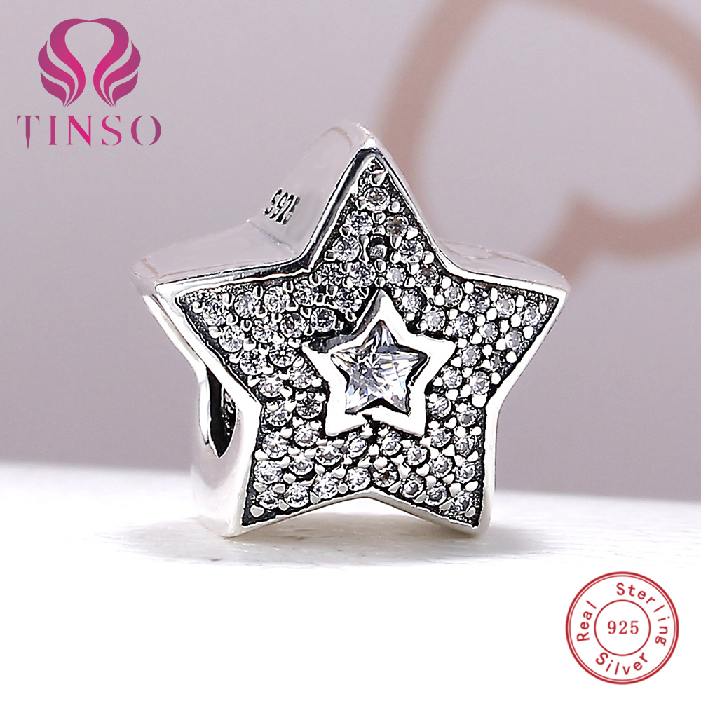 100% Authentic 925 Sterling Silver Star Shape Pave CZ Charm Beads Fit Pandora Charm Beads Bracelet DIY Original Jewelry Making