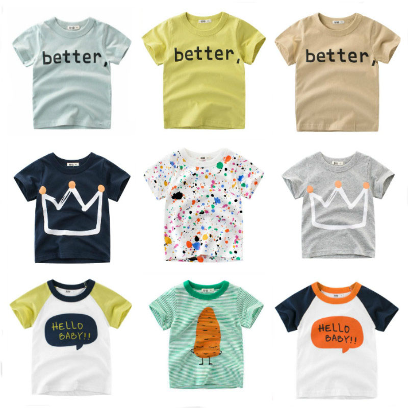 OLN Summer Kids Boys T Shirt Crown Print Short Sleeve Baby Girls T-shirts Cotton Children's T-shirt O-neck Tee Tops Boy Clothes(China)