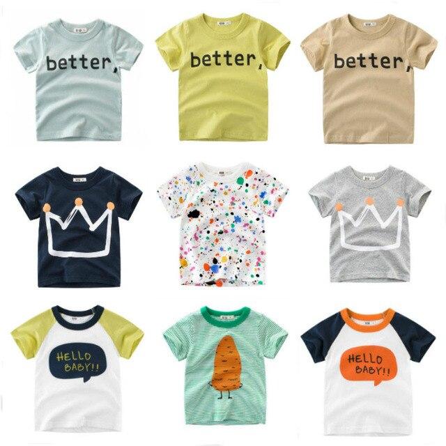 OLN Summer Kids Boys T Shirt Crown Print Short Sleeve Baby Girls T-shirts Cotton Children's T-shirt O-neck Tee Tops Boy Clothes