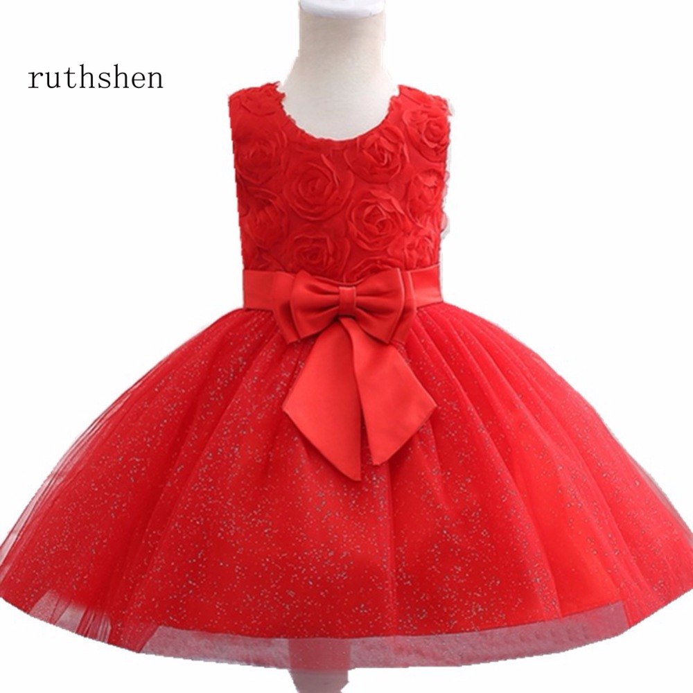 ruthshen Red   Flower     Girl     Dress   For Evening Prom Party Costume Teenage   Girls   Kids Clothes Wedding Christening Gown 2018