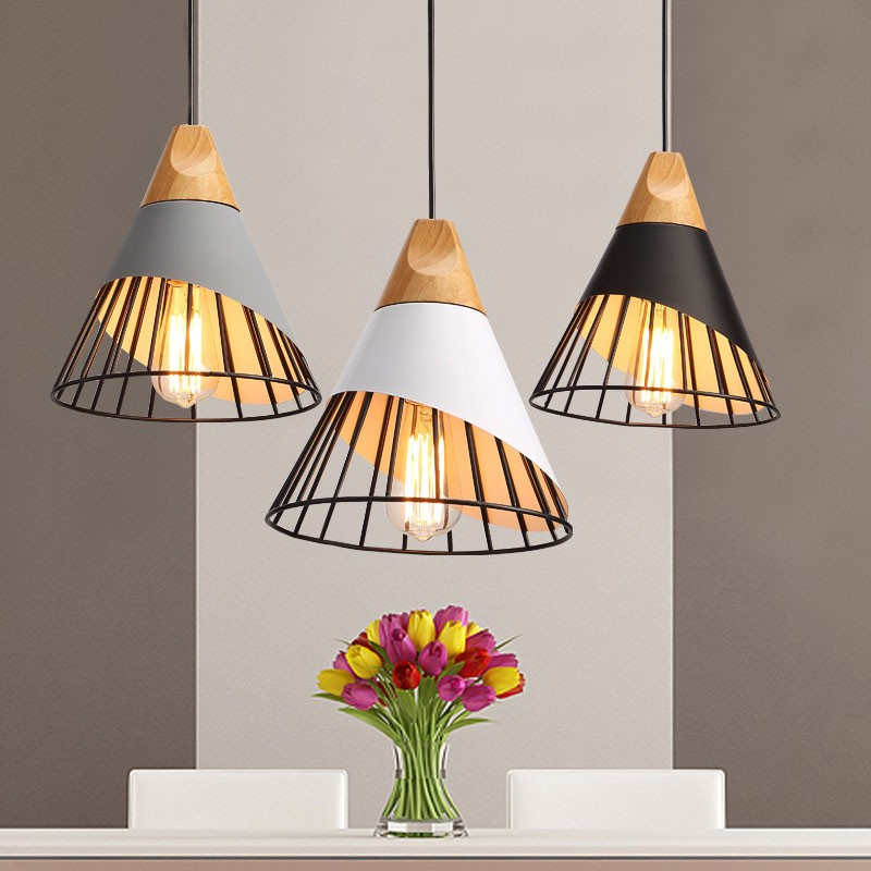 Modern brief creative restaurant wood E27 bulb pendant light fixture DIY norbic home deco dinning room iron cage pendant lamp modern brief creative wood cone pendant light fixture home deco dinning room and restaurant e27 pendant lamp