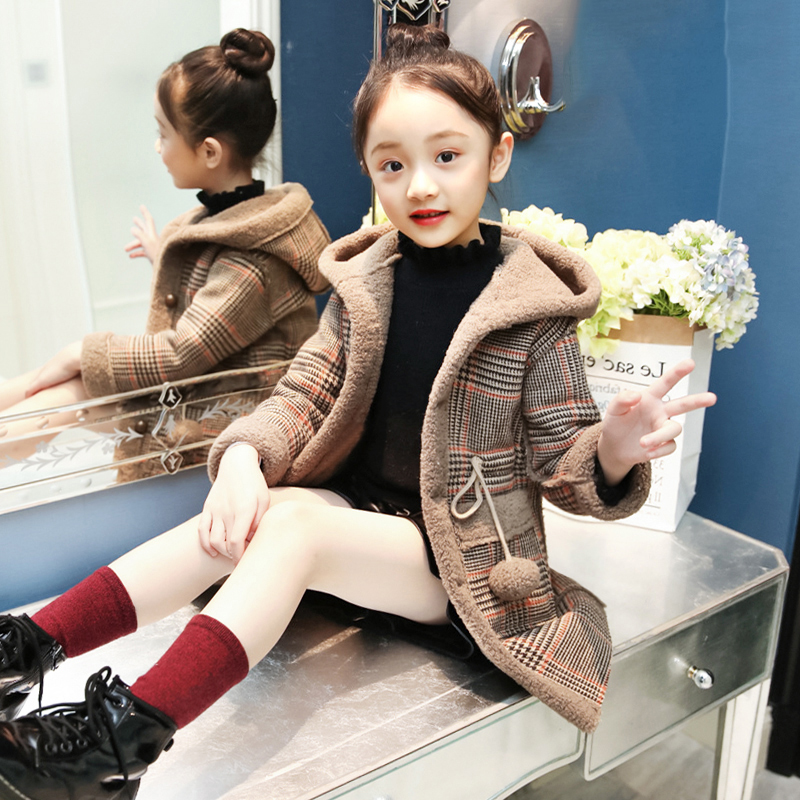 Girls' Coat 2018 Autumn and Winter New Fashion Lambswool Warm Coat Children's Thick Coat Girl Clothes Princess Baby Fur Coat