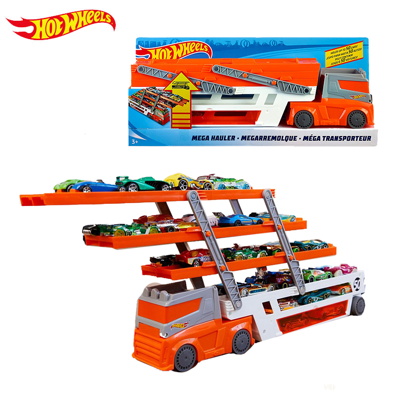 Hot Wheels 6 Layer Scalable Heavy Transport Vehicles FTF68 With 10 Piece Small Car Educational Toy
