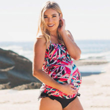 Two Pieces Print Maternity Swimwear Women Pregnant Tankinis Set font b Pregnancy b font font b