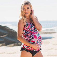 Two Pieces Print Maternity Swimwear Women Pregnant Tankinis Set Pregnancy Swimsuit Plus Size Beach Bathing Suit Padded Swimsuit