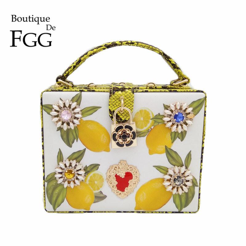 Prix pour Cristal Fleur Lemon Arbre Impression Serpentine PU Mode Femmes D'affaires Épaule Sacs Bandoulière Sacs de Soirée de Dames Totes Sac
