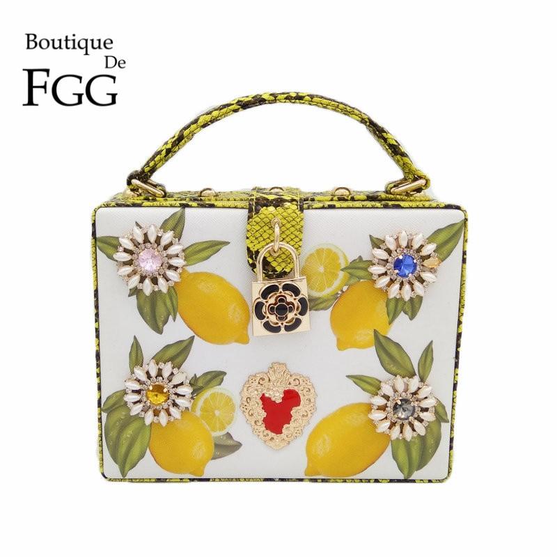 Crystal Flower Lemon Tree Print Serpentine PU Fashion Business Women Shoulder Ba