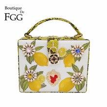 Crystal Flower Lemon Tree Print Serpentine PU Fashion Business Women Shoulder Bags Crossbody Bags Ladies Evening Party Totes Bag