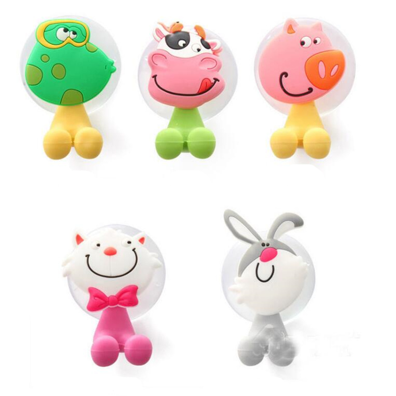 5pcs/lot Cute Cartoon Animal Face Silicone Sucker Toothbrush Holder Cow Frog Rabbit Cat Pig Bathroom Suction Hooks