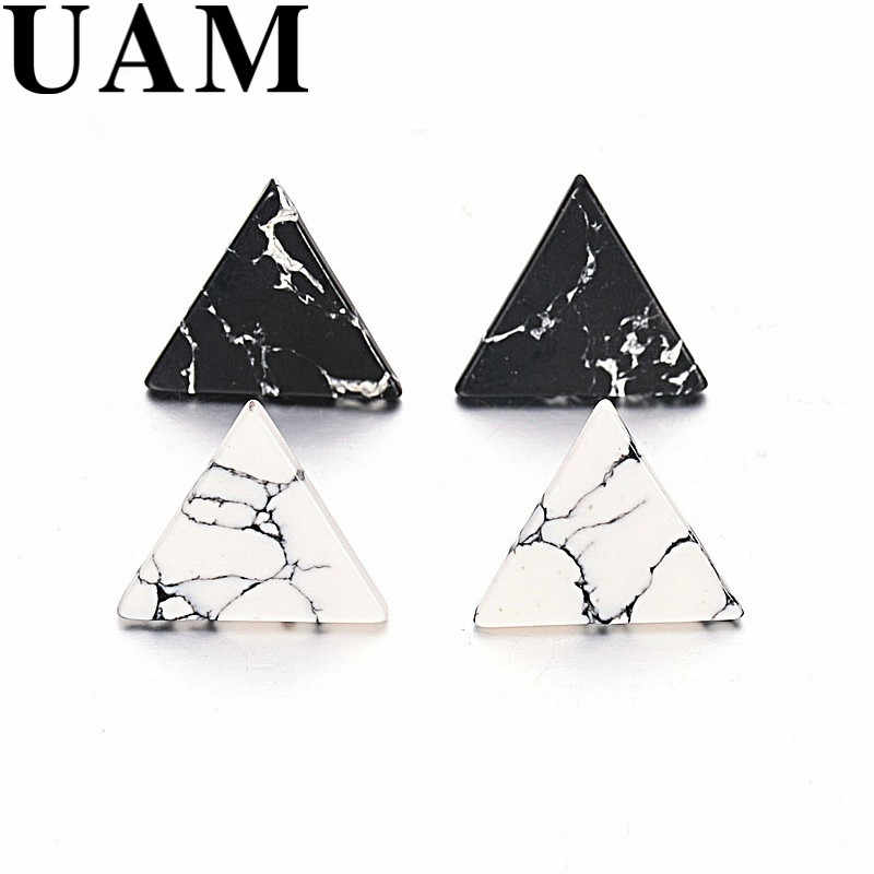 2cm New Brand 2017 Trendy Fashion Punk Man-Made Faux White Black Geometric Simple Marble Stone Triangle Stud Earrings for Women