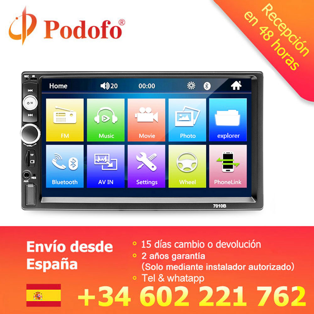 "Podofo 2 din car radio 7"" autoradio Multimedia player MP5 Auto Car audio Autoradio Bluetooth USB Backup Monitor 2din auto radio(Hong Kong,China)"