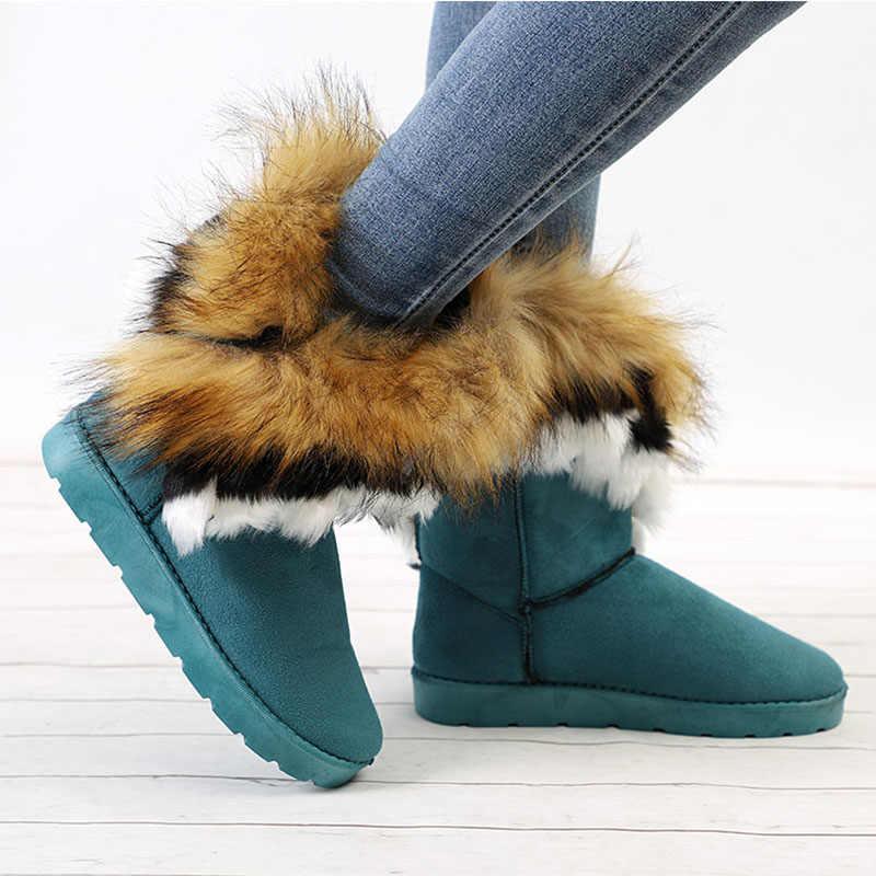 Winter Snowboots Vrouwen Faux Bont Enkellaarsjes Vrouwelijke Slip-On Warm Fashion Schoenen Dames Platte Comfortabele Schoenen Plus size