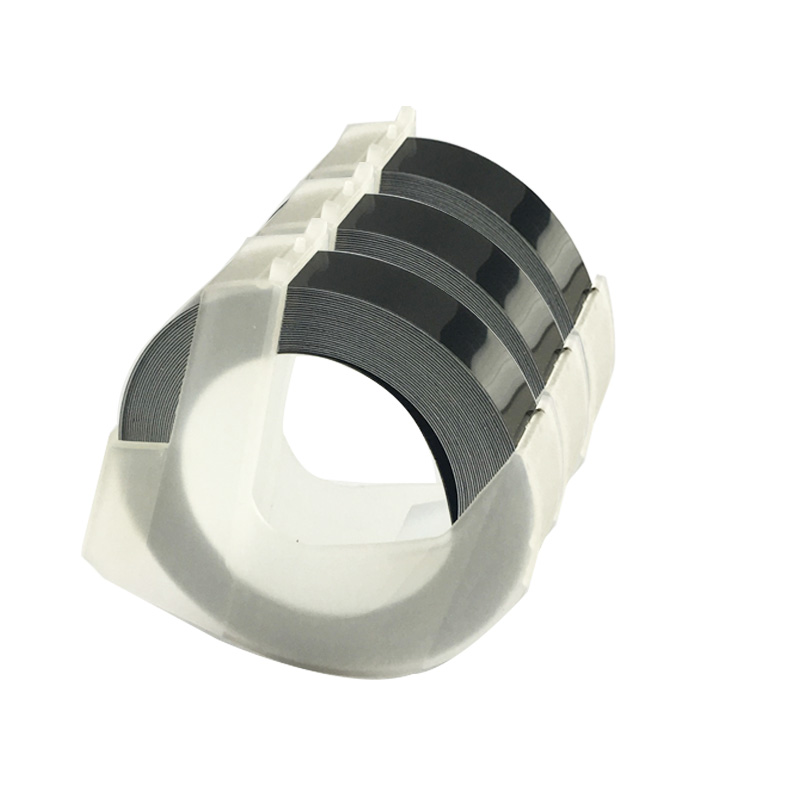 CIDY 3 rolls 9MM 12MM 6MM 3D Plastic Black Color Tapes for Embossing Label Makers