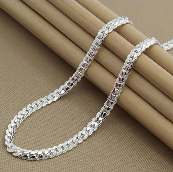 LJ&OMR Silver chain collar  925 Sterling Silver  Necklace  Fashion Cute 5mm Silver Jewelry Necklace Chains Pendant