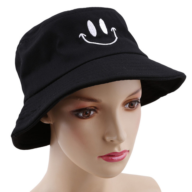 1pc Sun Hat Smiley Embroidery Fashion Cute Hat Women Summer Hat Clothing  Accessories Black white pink a0e992f45e0e