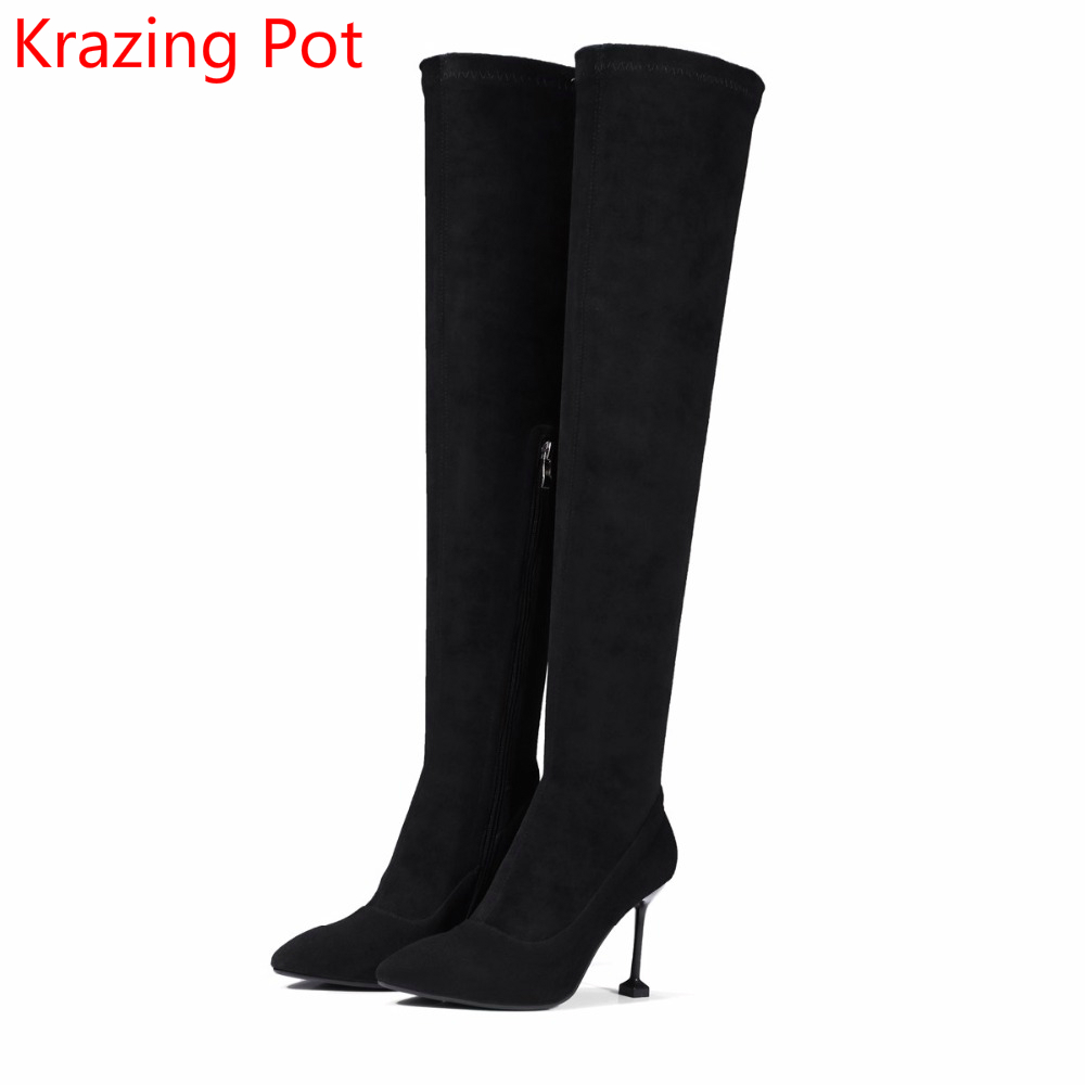 2018 Fashion New Arrival Handmade Pointed Toe Thigh High Boot Winter Boots Runway Warm Thin Heel Women Over-the-knee Boots L82 wuhaobo the new arrival of the cashmere knitting wool ladies hat winter warm fashion cap silver flower diamond women caps