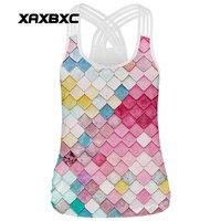 XAXBXC 002 Verão Sexy Girl Tops Rainbow Escala Sereia Print xadrez Corda Elástica de Fitness Fino Das Mulheres Top Colete Estilingue colete