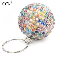 Round Tiny Glass Beads Shoulder Bag Metallic Rhinestone Clutch Wedding Zinc Alloy Multi-Color Female 2019 Handbag