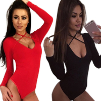 cb089728307f7 Sexy Women Bodysuit Tops Spring Summer O-Neck Long Sleeve Body Suit Romper  Fashion Black
