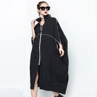 2018 Autumn Women Long Trench Coats Plus Size Sold Bat Sleeve Windbreaker Street Fashion Poncho Casual Outwear Femal Zipper Tops