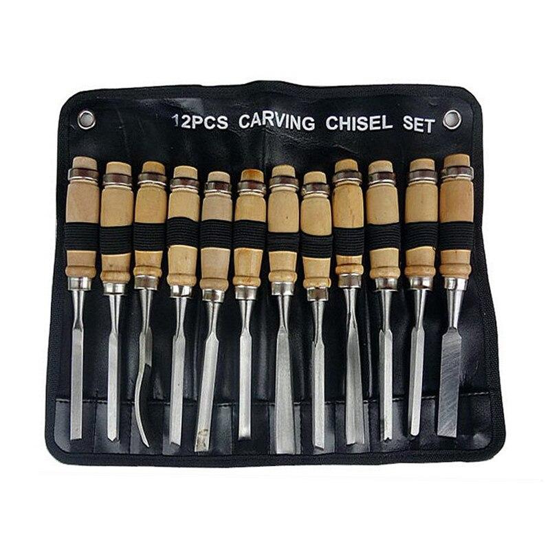 Cuchillo de talla de cincel de trabajo de madera 12pcs / set Juego de - Juegos de herramientas - foto 3