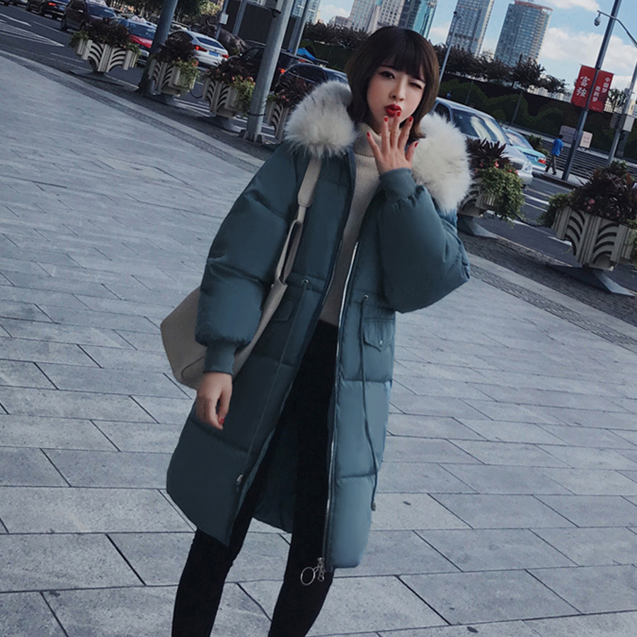 Women Winter Jacket Slim Thicken   Down     Coat   Long Hooded Warm Cotton   Coats   2018 New Elegant Big Fur Collar Outerwear Female Winter
