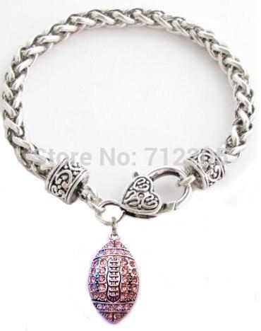 Футбол с розовым браслет с хрустальной подвеской(B10054