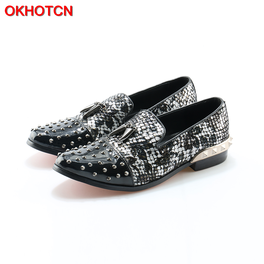 OKHOTCN Sequined Cloth Men Shoes Pepper Rivets Men Party Dress Shoes New Fashion Flats Shoes Handmade Shiny Loafers Mocassins ovxuan metal skull buckle handmade men ankle shoes punk party dress loafers glitter bright sequins men flats casual rivets shoes