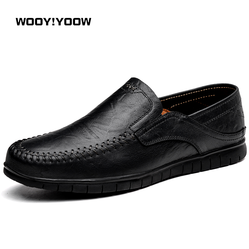 WOOY!YOOW 2018 New Fashion Men's Casual Shoes Men's Solid Color Genuine Leather Loafers Soft Rubber Outsole Comfort Inside