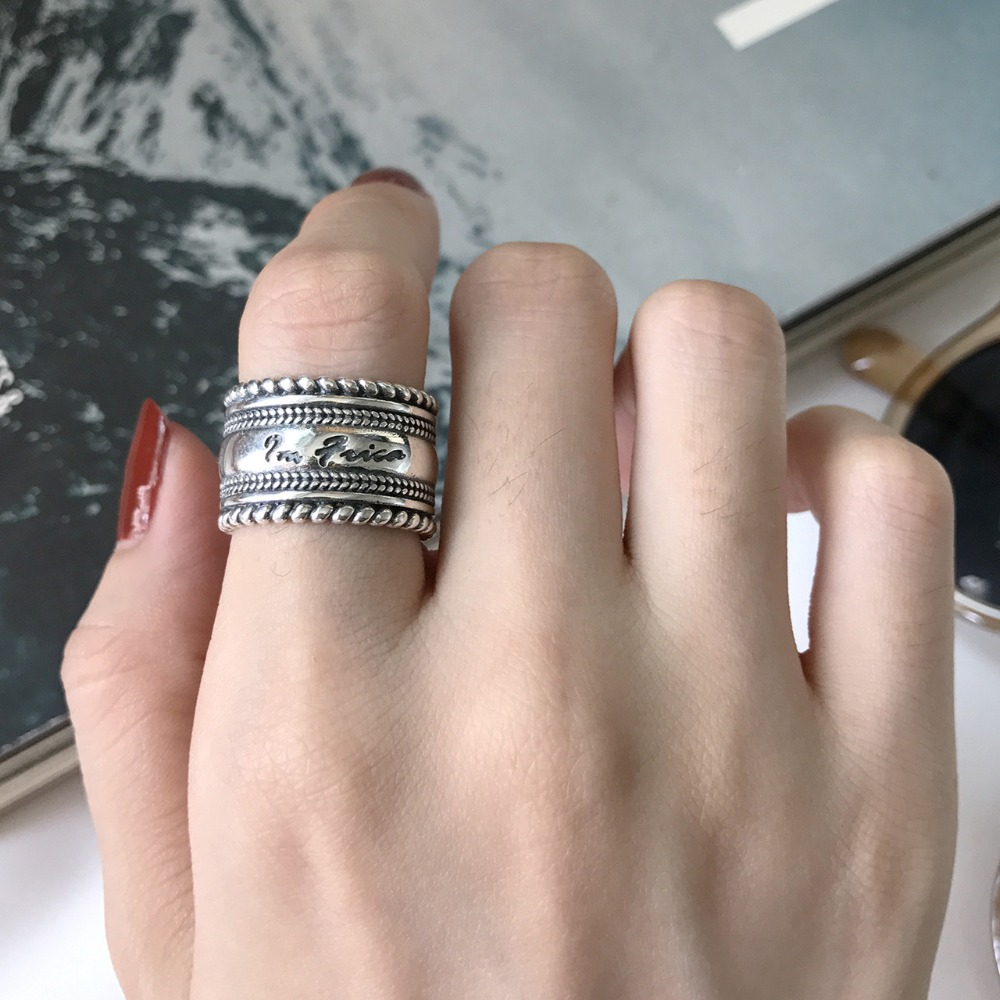 Retro Authentic S925 Sterling Silver Fine Jewelry Multi-Layers Twisted Letter Engraved  Line Wider Long Band Ring Punk J375