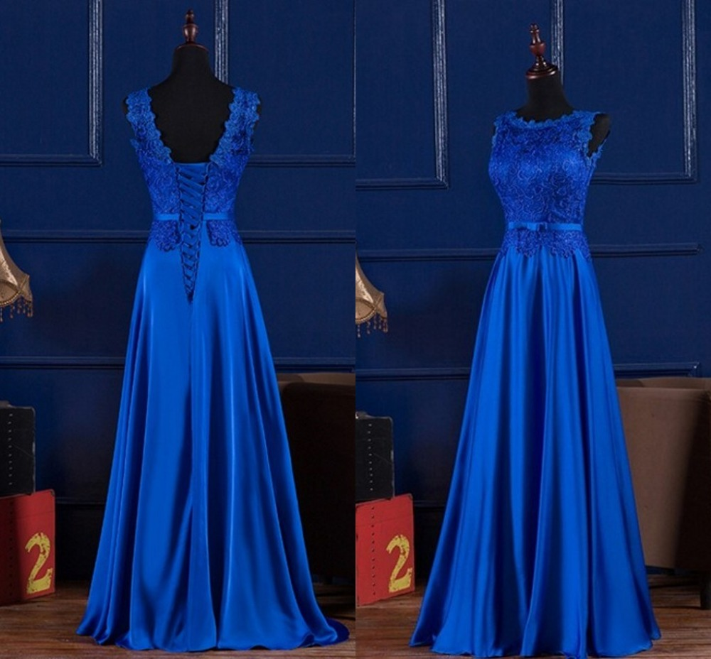 Elegant Royal Blue /Wine Red Scoop Lace Satin Long Dresses For Wedding Party Summer Prom Evening Gowns Maxi Dresses Vestidos
