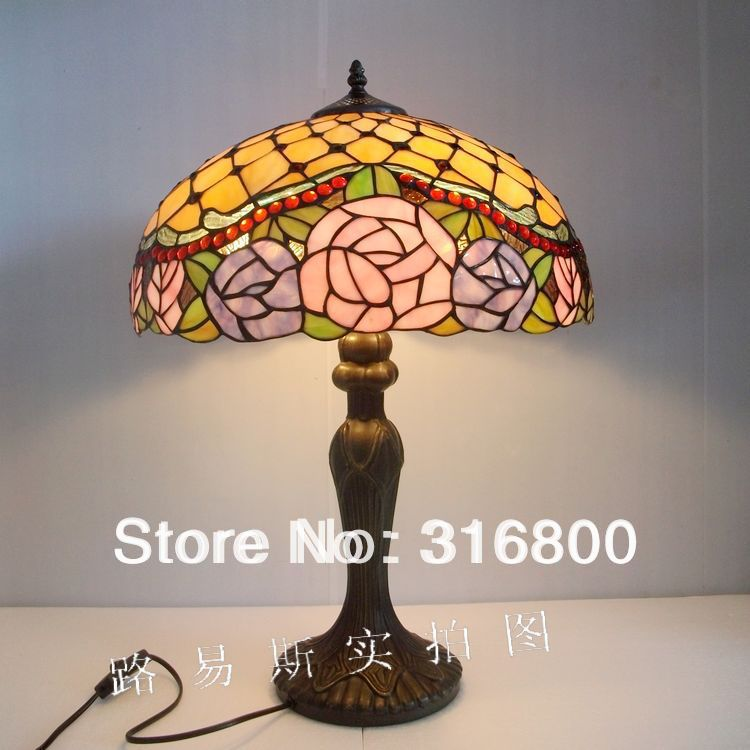 Free Shipping American pink roses living room lamps bedroom bedside lamp Tiffany pastoral retro glass Nordic LightingFree Shipping American pink roses living room lamps bedroom bedside lamp Tiffany pastoral retro glass Nordic Lighting