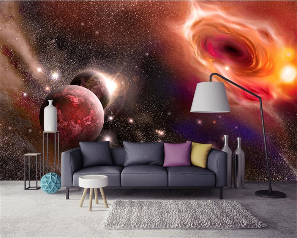 beibehang Advanced Wallpapers Aesthetic Dreams Cool Universe Star Planet Galaxy TV Walls papel de parede 3d wallpaper wall paper