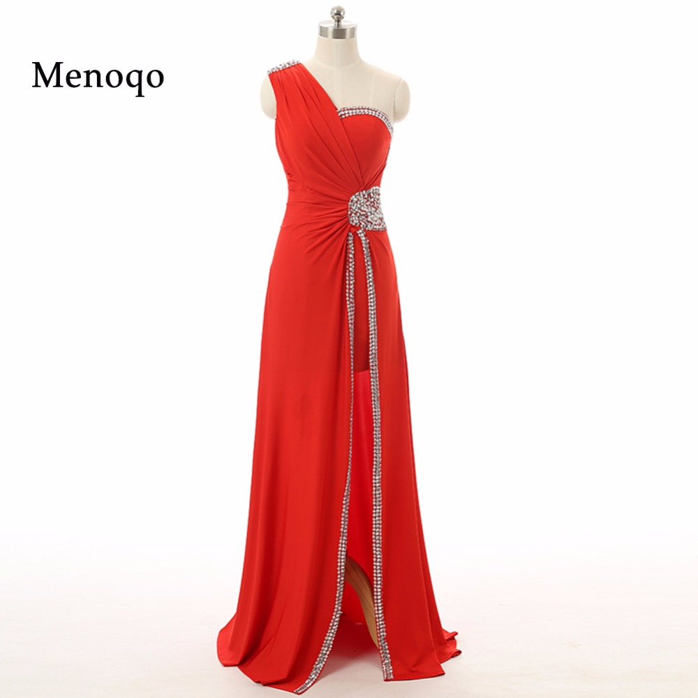 2019 Fast Shipping Manufacturer Made Red A line One shoulder Chiffon Side open Floor Length Long   Evening     Dresses   Real Sample