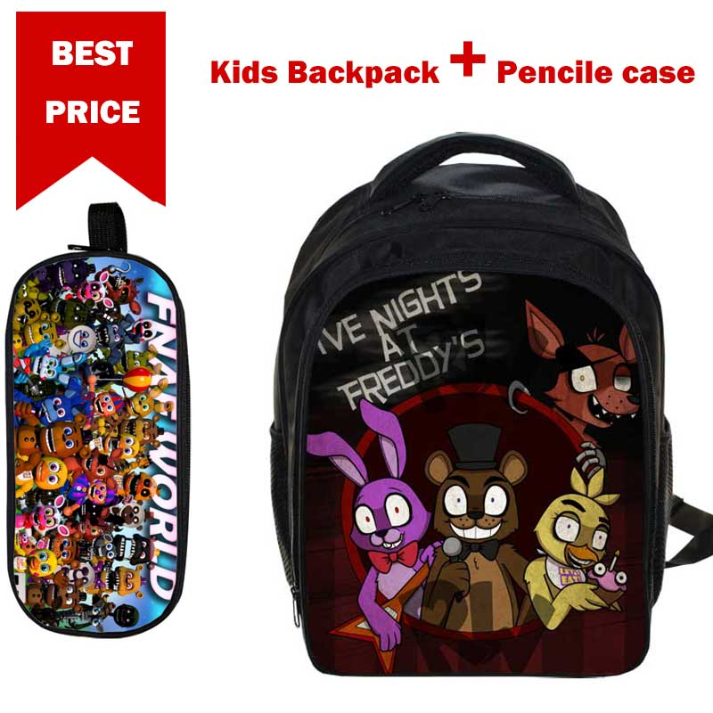 Small 3D Cartoon Five nights at freddy Print School Bags for Boys Girls Children Book Bag with Pencile Case Mochila para ninos new arrival five nights at freddy s fnaf action figures toys bonnie foxy freddy fazbear bear pvc figure dolls toys for children
