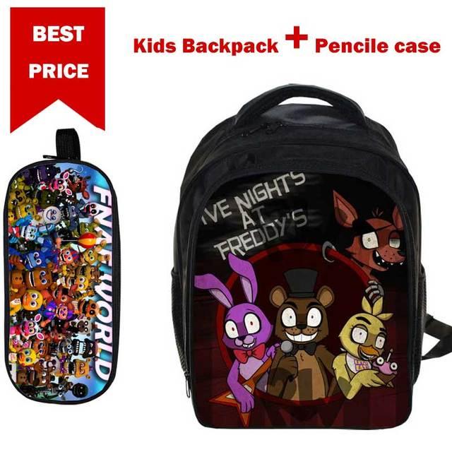 194ccb4cd6 Small 3D Cartoon Five nights at freddy Print School Bags for Boys Girls Children  Book Bag with Pencile Case Mochila para ninos