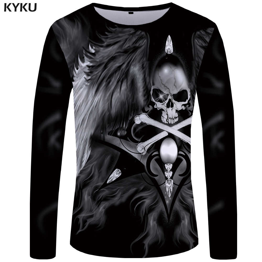 0919ce2ad84 KYKU Skull Long Sleeve T Shirt Women Wing T-shirt Punk Rock Clothes 3d  Printed