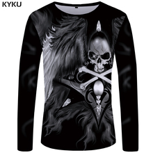 KYKU Skull Long Sleeve T Shirt Women Wing T-shirt Punk Rock Clothes 3d Printed Tshirt Hip Hop Womens Clothing Summer Streetwear стоимость