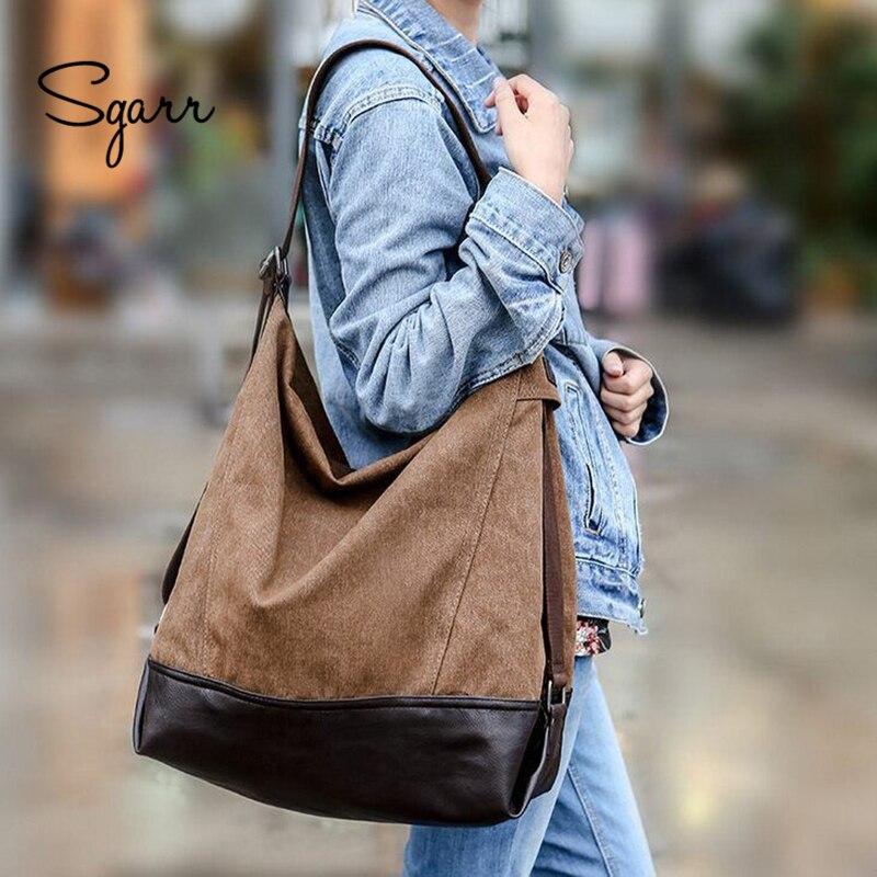 SGARR Famous Brands Large Capacity Women Handbags High Quality Vintage Canvas Women Shoulder Bags Fashion Casual Female Tote Bag