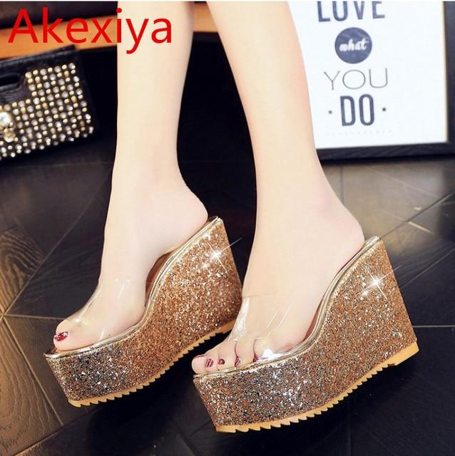 Akexiya Women Sandals 2017 Transparent Women Platform Sandals Glitter  Wedges High Heel Slippers Sandals Summer Shoes Woman 362 067820384e87