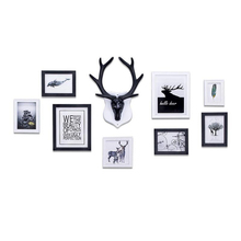 9pcs/set Home Decoration Murals Photo Frame Combination Deer Head Wall Hanging Living Room Frames for Picture