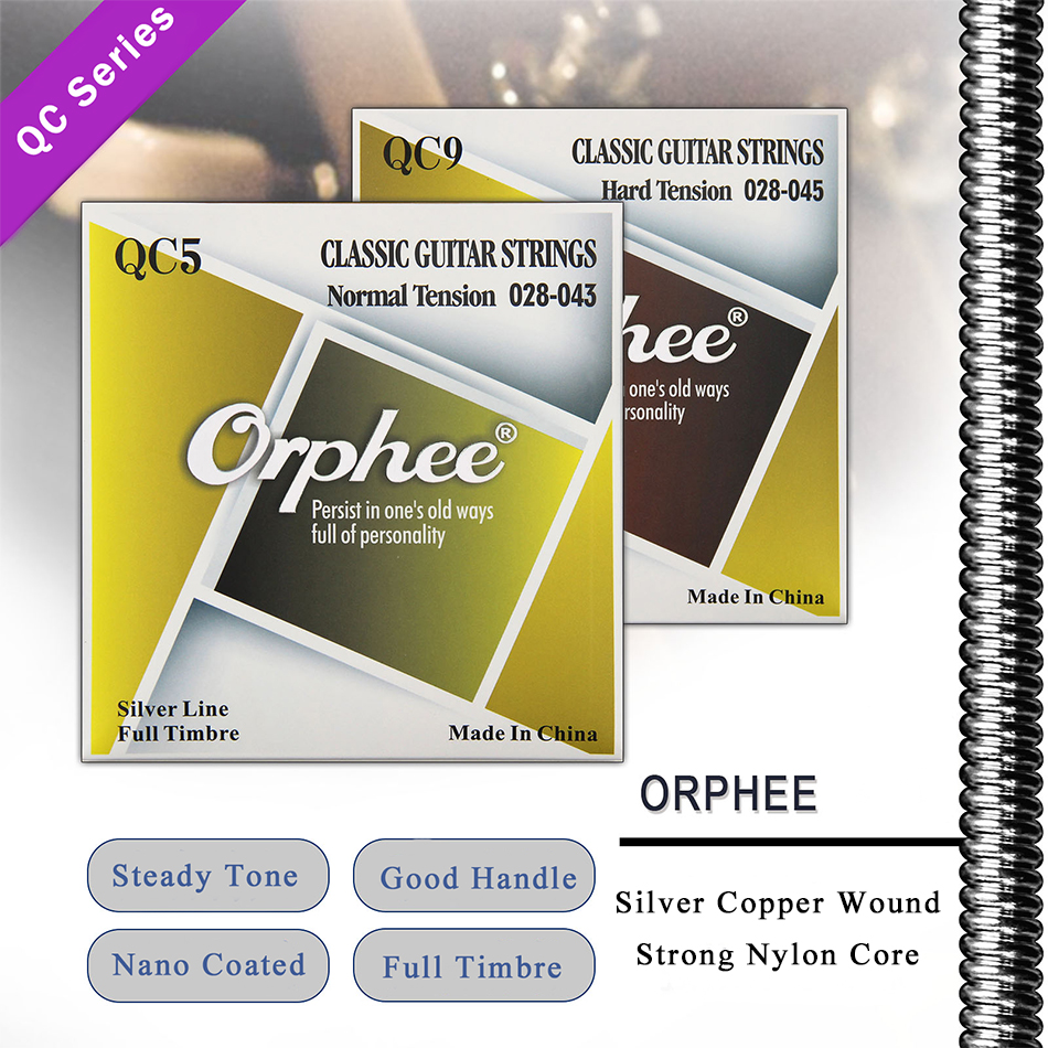 Orphee QC Series Classical Guitar Strings Clear Nylon Core Silver Plated Wound Hard/Normal Tension Classic Guitarra Accessory savarez 510 cantiga series alliance cantiga normal tension classical guitar strings full set 510ar