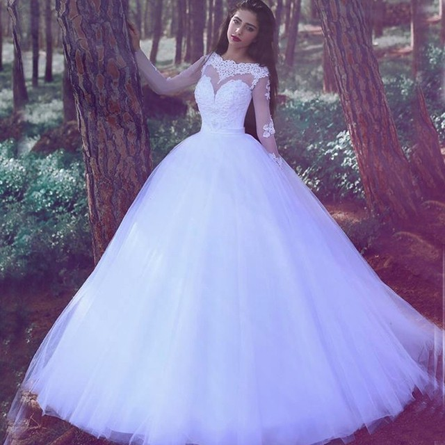 Boho Wedding Dress With Long Sleeve Tulle Elegant Long Ball Gown