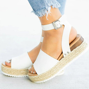 Image 3 - 2020 Summer Womens Casual Espadrilles Trim Rubber Sole Flatform Studded Wedge Buckle Ankle Strap Open Toe Sandals