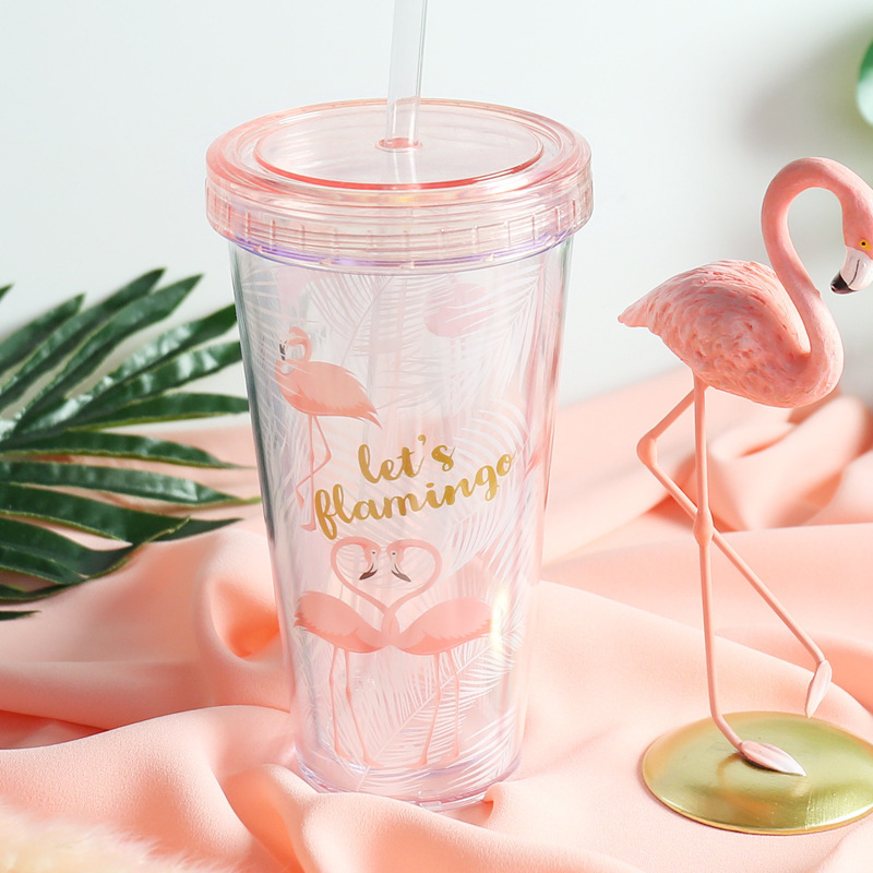 500ml Flamingo Plastic Cups With Straw Cute Cartoon Drinking Container Double Wall Coffee Tea Milk Juice Water Cup Creative Gift