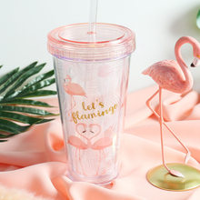 500ml Flamingo Plastic Cups With Straw Cute Cartoon Drinking Container Double Wall Coffee Tea Milk Juice Water Cup Creative Gift(China)