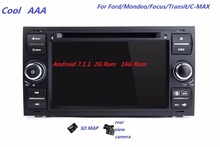 Car radio DVD 1024*600 Quad Core  Android 7.1.1 for Ford Focus 2 Kuga Mondeo Connect S-MAX C-MAX Fusion Galaxy Fiesta Transit 4G