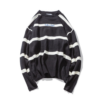 64cc853034419 2019 новый осенне-зимний брендовый свитер мужской модный тренд Полосатый  пуловер мужской 100% хлопок вязаный свитер мужской уличная одежда