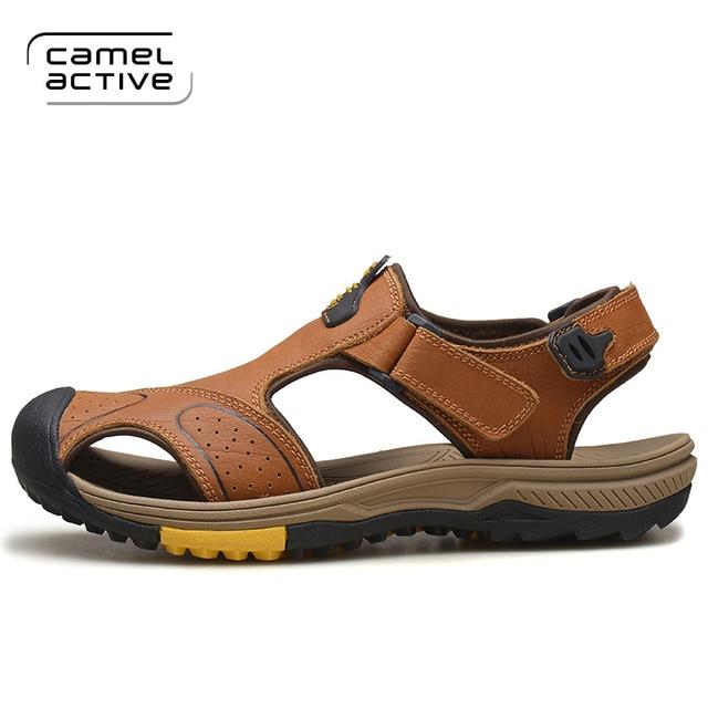 ec81d17e07 Camel Active Homens Sandálias Chinelos de Couro Genuíno Couro Masculinos  Sapatos de Praia Verão Casuais Ao