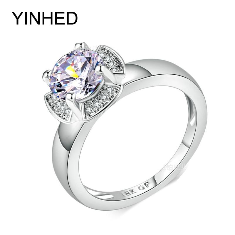 Yinhed 18kgp White Gold Filled Flower Wedding Rings For